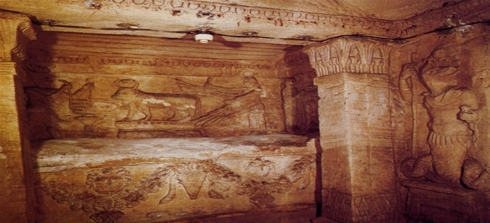 Inside Catacombs of Kom el Shoqafa